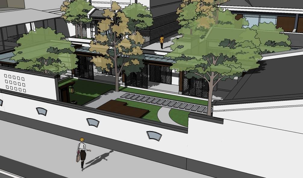 sketchup模型徽派黑白灰中式现代会所建筑