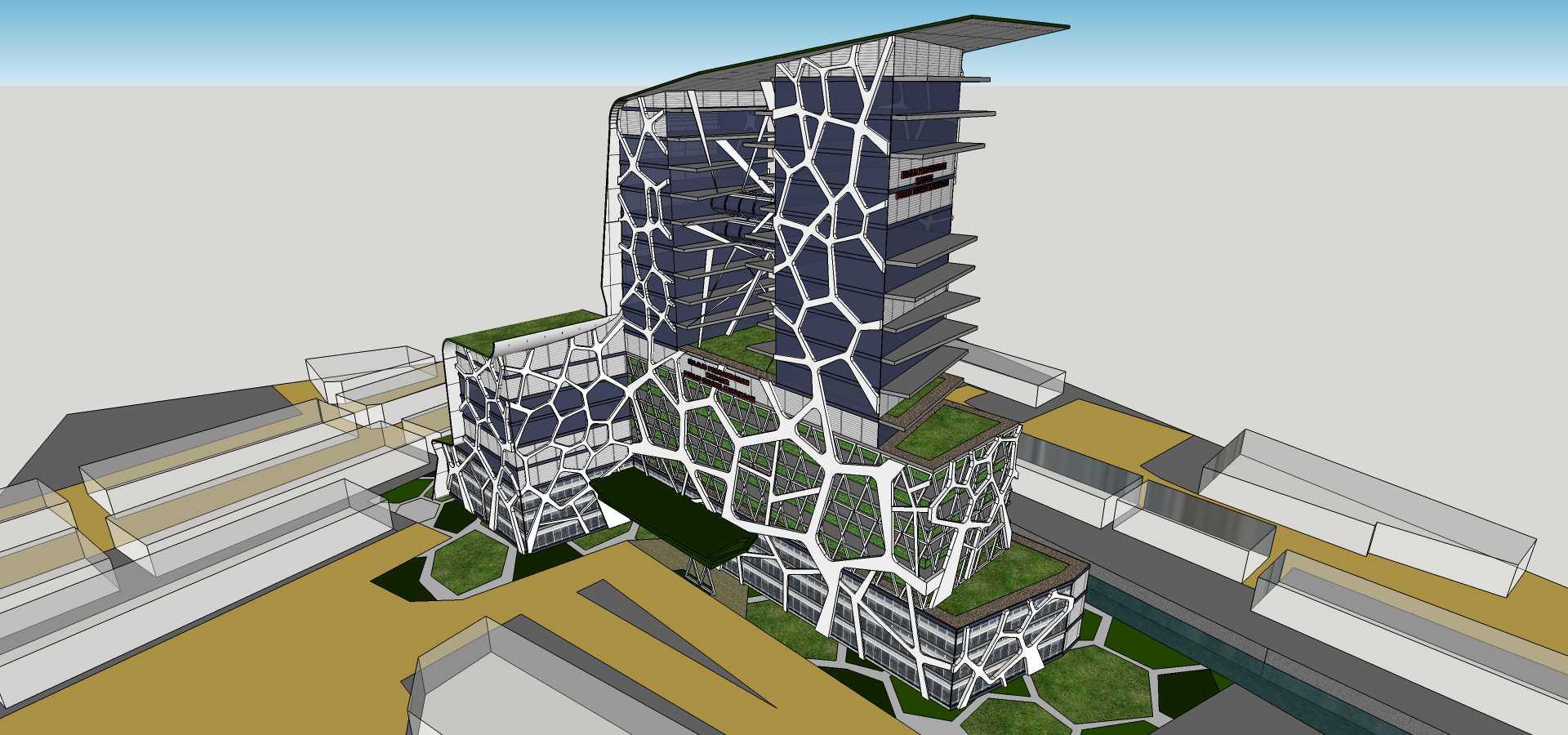 现代高层生态办公楼